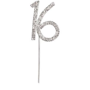 Diamante Cake Topper Birthday / Number Pick Silver 16th