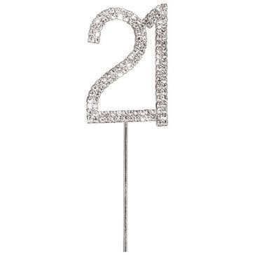 Diamante Cake Topper Birthday / Number Pick Silver 21st
