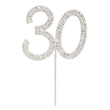Diamante Cake Topper Birthday / Number Pick Silver 30th