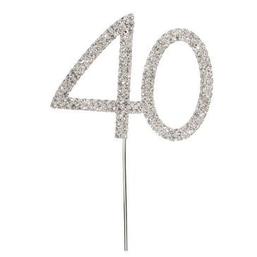 Diamante Cake Topper Birthday / Number Pick Silver 40th
