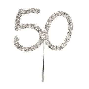 Diamante Cake Topper Birthday / Number Pick Silver 50th