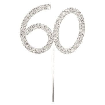 Diamante Cake Topper Birthday / Number Pick Silver 60th