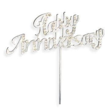 Diamante Cake Topper Pick Happy Anniversary Silver