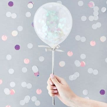 Mini Iridescent Confetti Balloons Toppers on Sticks - 5 inch