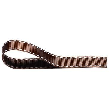 Nylon Stitched Grosgrain 12mm Ribbon Brown x 10m