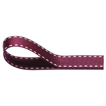 Nylon Stitched Grosgrain 12mm Ribbon Burgundy x 10m