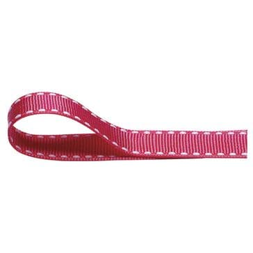 Nylon Stitched Grosgrain 12mm Ribbon Fuschia Pink x 10m