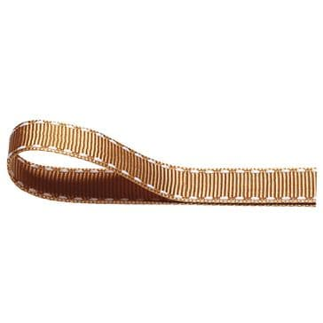 Nylon Stitched Grosgrain 12mm Ribbon Gold x 10m