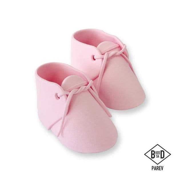 PME Baby Shower Sugar Icing Shoes / Bootees - Pink