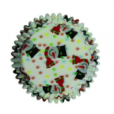 PME Christmas Smiley Snowman Mini Cupcake / Muffin Cases (clearance)